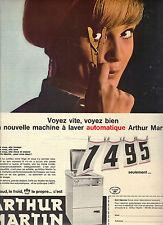 PUBLICITE 1966  ARTHUR MARTIN  machine à laver