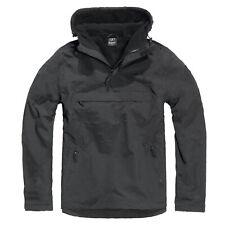 Hooded Windbreaker schwarz S-5XL, Outdoor Regenjacke mit Kapuze gefüttert Skater