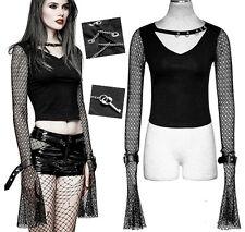 Top haut t-shirt gothique punk lolita manches camisole résille laçage chaîne clé