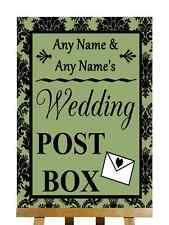 Sage Green Black Damask Post Box Personalised Wedding Sign