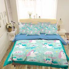 3D Cute Cloud Unicorn 522 Bed Pillowcases Quilt Duvet Cover Set Single Queen CA