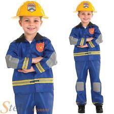 Boys Blue Fireman Firefighter Book Week Fancy Dress Costume & Hat