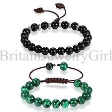 Men Women 10mm Manmade Malachite Agate Beads Buddhist Prayer Stretch Bracelet