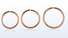 1 Rose Gold Plated Steel Hoop Ring Annealed 22g Nose Lip Ear  8mm 10mm 12mm #CRG