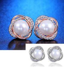 Rose Freshwater Pearl Stud Earrings Pe5 Sterling Silver Cubic Zirconia Cz Rotary