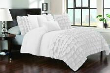 3 Piece Waterfall Half Ruffle King/Cal King Size Duvet Cover 800 TC 100% Cotton