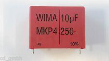 WIMA diapositive CONDENSATORE CONDENSATORE mkp4 10uf 10µf 250vdc rm37, 5