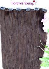 Gancho Rapido marrón medio Clip en extensiones de cabello humano # 4
