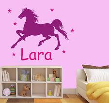 Wandtattoo Aufkleber Pferd Wunschname Sterne Kinderzimmer zweifarbig wu130