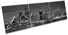 Sydney Opra House City Skyline B&W CANVAS WALL ART TRIPLE Box Frame Print