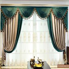 luxury villa beige green velvet cloth blackout curtain tulle valance drape B740