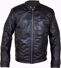 New Mens Black Genuine Real Leather Biker Jacket Sizes S-3XL
