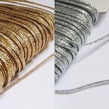 3mm Russia Treccia soutache spago Argento/Oro metallico lurex al 2m lunghezza