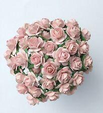 50 Rosa Pallido Mulberry Paper Open rose/fiori 1cm (10mm) e 1.5cm (15mm)