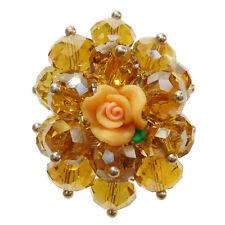Bague cristal facettes JAUNE fleur rose fimo réglable Taille 56 58 60 62 64 66