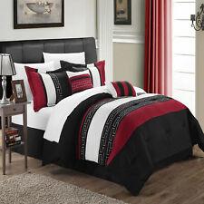 Carlton Black Burgundy & White 10 Piece Comforter Bed In A Bag Set