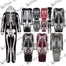 Esqueleto de mujer señoras Puente Sudadera Largo Bodycon Camiseta De Halloween Vestido De La Tapa