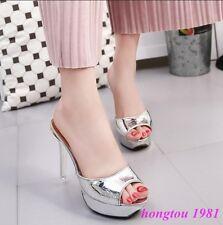 Fashion Womens Peep Toe Ladies High Heels Party Sandals Mules Shoes Stilettos