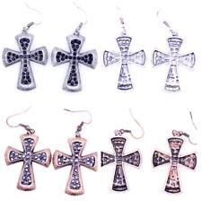 Vintage style crystal embedded cross earrings. Christian bling! multiple choices