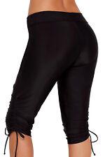 Women's Wide Waistband Swim Shorts Crop Pants Ruched Leggings Swimwear Bottoms