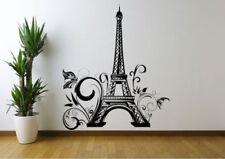 EIFFEL TOWER FLOWERS PARIS WALL STICKER DECAL MURAL STENCIL VINYL PRINT WSD671