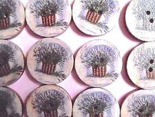 25mm wood LAVENDER Flower Buttons 10, 20. or 50  embellishment