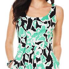 Nine West Mojito Green Combo Print Topstitch Stretch Cotton Dress w/Pockets