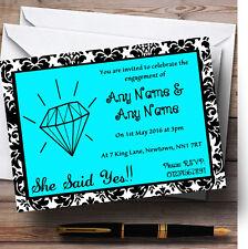 Blue Diamond Damask Personalised Engagement Party Invitations