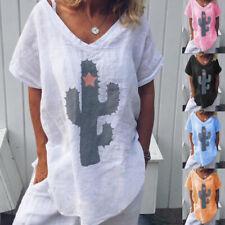 Ladies Casual Cotton Linen T-Shirt Print Tops Beach Loose Blouse Jumper Clothes