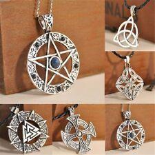 Retro Cool Pentagram Star Celtic Knot Cross Metal Silver Pendant Choker Necklace