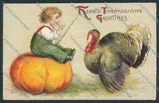 Clapsaddle Ellen Thanksgiving postcard cartolina B6935 SZI