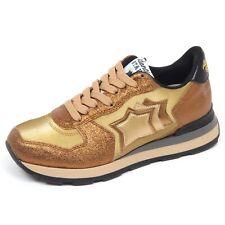 F7662 sneaker donna gold ATLANTIC STARS VEGA cracked effect shoe woman