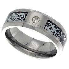 8mm Tungsten Wedding Band Ring CZ Stone, Celtic Dragon Inlay, Beveled Edges