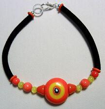 "Orange, yellow glass beads + cord bracelet - 7"" or 7.5"""