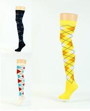 thigh-high-over the-knee-socks argyle designs