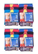 Mens 12/6pr FREE WILLY/Emoji Coloured Cotton Boxer Shorts Waistband  Underwear S