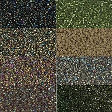 Miyuki Delica Beads rund 11/0 1,6mm olivgrün, khaki, schlamm a 5 Gramm