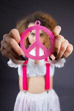 Peace Kette neon orange Hippie Fasching Anhänger Schmuck 124617113