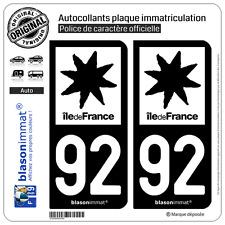 2 Stickers autocollant plaque immatriculation : 92 Ile de France LogoType N&B