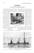 1905 PRINT OSTEND DOG DRAWN MILK CART MONOSCAPH CANOE