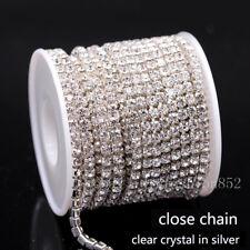 1/10yard ss6/8/10/12/16/18 Crystal Clear Rhinestones Silver close cup Chain Trim