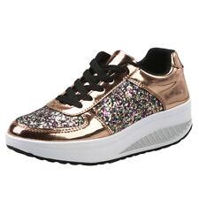 Women Collegiate Sneaker Metallic Lace Up Shoes PU Trainer Wedge Mid Heels Size