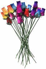Wooden Roses 2 Dozen 24 Mixed Color Bouquet Rose Buds Artificial Flower NEW
