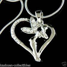w Swarovski Crystal ~Tinkerbell Heart~~ Tinker Bell Pixie Fairy Pendant Necklace