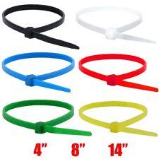 """4"""" 8"""" 14"""" Nylon Plastic Cable Wire Zip Tie Cord Strap Wrap Fasten Organizer Lot"""