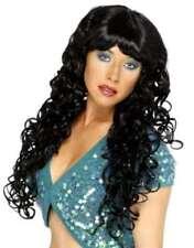 Halloween Mujer Sirenas Pop Star Rizado Peluca Para Disfraz Negro