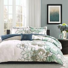 Beautiful Chic Modern Reversible Soft Blue Aqua Teal Floral Flower Comforter Set