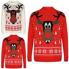 Girls Boys Christmas Jumpers Kids Novelty Reindeer Print Xmas Sweaters 5-12 Year