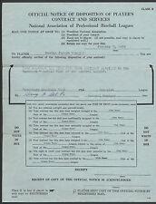 WATERBURY MINOR LEAGUE BASEBALL PLAYER CONTRACT DISPOSITION MUSKEGON CONSOLI '49
