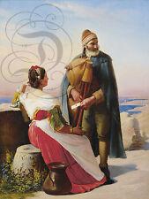 PLAQUE ALU DECO REPRO TABLEAU PEINTURE LA LETTRE D AMOUR HOMME FEMME 1830